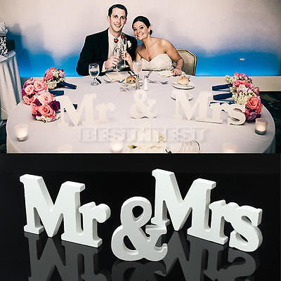 Wedding Reception Sign White Wooden Letters Mr & Mrs Table Centrepiece - Wedding Reception Table Decorations
