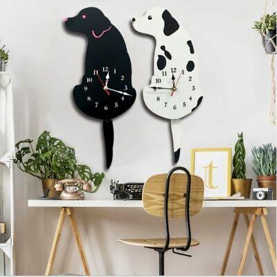 Wall Clock Cat Dog Tail Wagging Art Vinyl Cartoon Living Room Home (Cat Art Decorative Wall Clock)