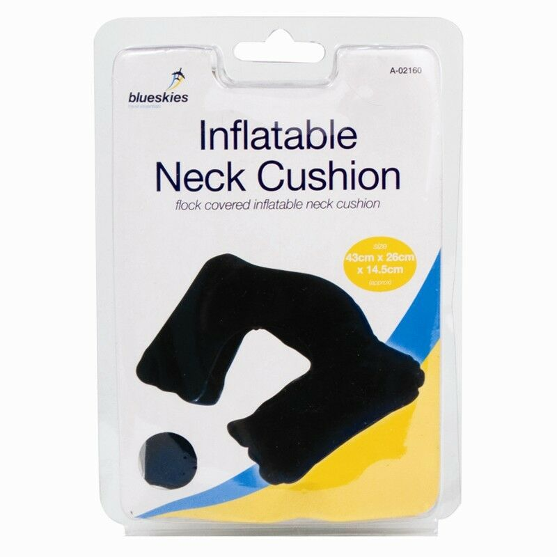 NAVY BLUE INFLATABLE NECK CUSHION FLOCK COVERED TRAVEL PILLOW CAR COACH PLANE