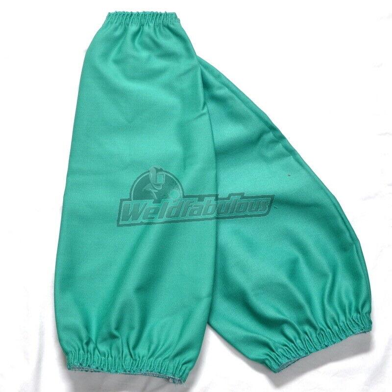 "Tillman 6218 18"" 9 oz. Green FR Cotton Welding Sleeves Elastic at Both Ends"