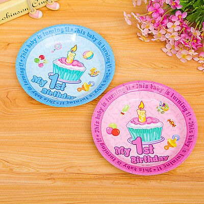 6Pcs 7inch Paper Plates First Birthday Party Festival Holiday Supply Disposable](First Birthday Plates)