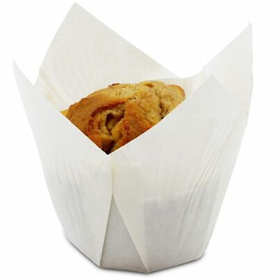 Large Cupcake Liners (100-Pack White Tulip Muffin Wrappers Large Cupcake Paper Liners Baking)