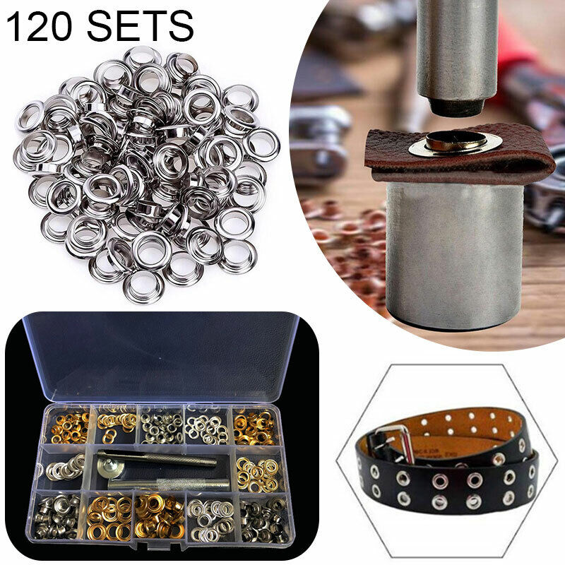 120 Set Metal Grommets Eyelets Tool Kit Set for Leather Canvas Clothes Useful