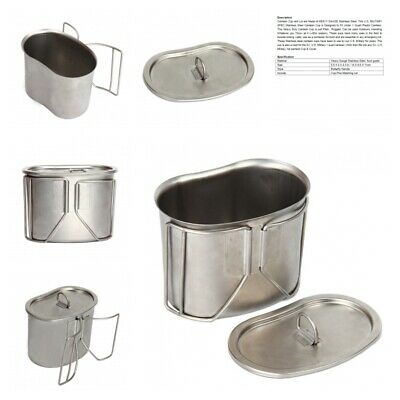 New GI Style Heavy Gauge Stainless Steel Canteen Cup Lid w// Handle Rothco 11512