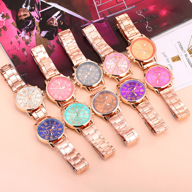 $0.77 - Geneva Luxury Women Bracelet Stainless Steel Analog Quartz Wrist Watch Watches