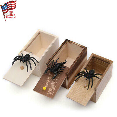 Halloween Box Scare (Home Joke Gag Toy Kids Toy Funny Prank Spider Wooden Scare Box)