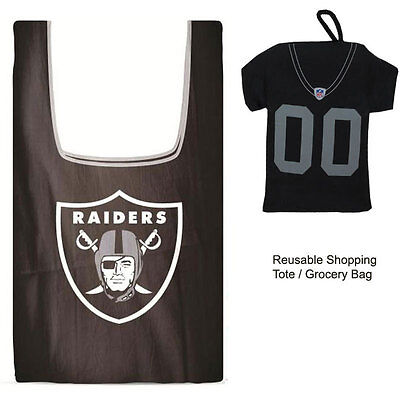 New Jersey Style Nfl Oakland Raiders Reusable Shopping Tote Grocery Bag