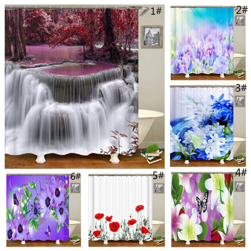 Bathroom Decor Shower Curtain Printed Waterproof Bath Toilet Curtain Flower Bath