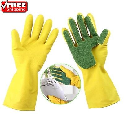 Scrub Gloves Dish Washing Cleaning Silicone Sponge Rubber Soft Scouring Kitchen