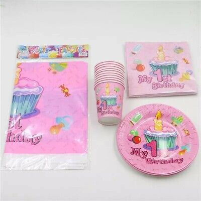 My First 1st Birthday Party Tableware GIRL Cups Plates Napkins Table Cover](First Birthday Plates)