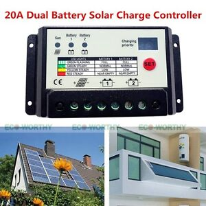 20a Solar Panel Pwm Dual Battery Charge Controller