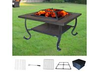 Brand new Garden Firepit Patio Heater Stove Fire Pit Square Brazier BBQ Table Tile