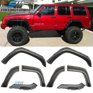 Fit 84-01 Jeep Cherokee XJ 4DR Pocket Rivet Style ABS Fender Flares Wheel  Cover 85b507e802