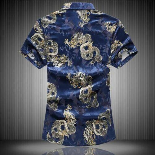 Summer Men Single Breasted Short Sleeve Chinese Dragon Printing Slim Shirts Tops
