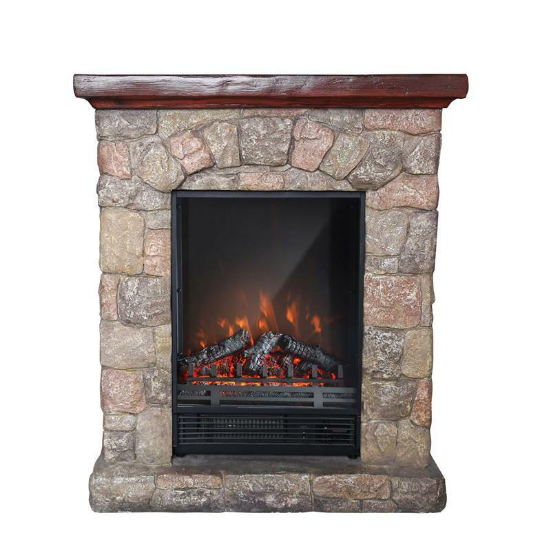 PolyStone Cottage Electric Fireplace Heater Mantel with Remote