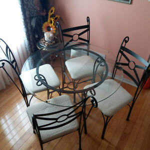 Dining set (Glass table with 4 chairs) - $200