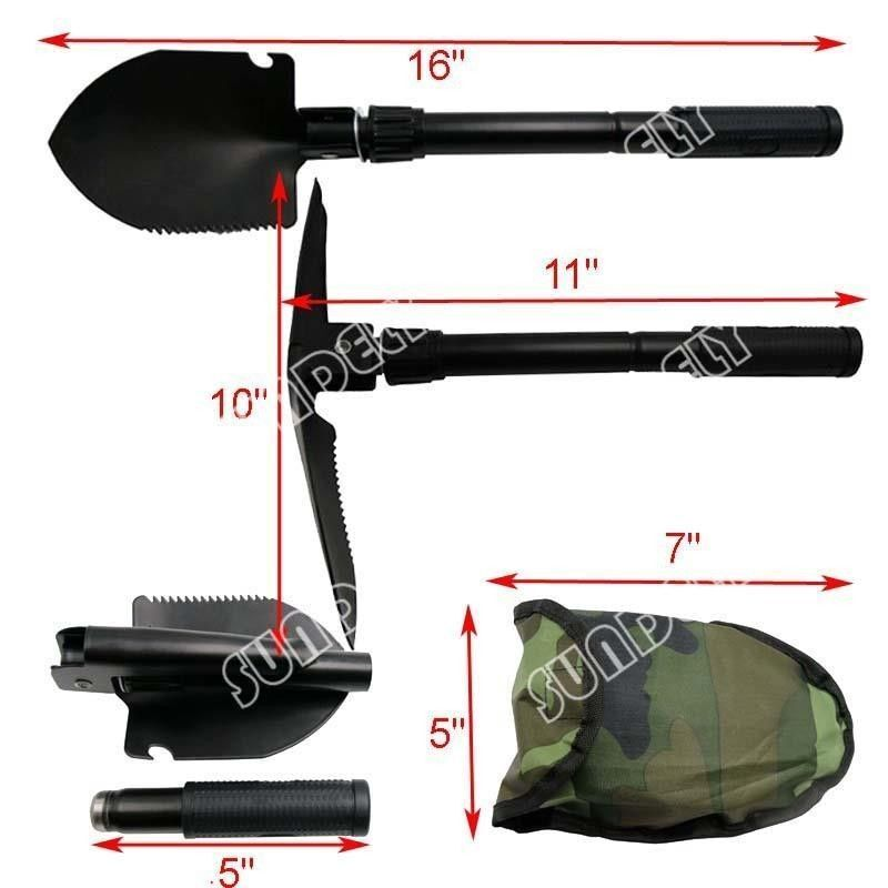 Hi-Q Army Military Folding Spade Shovel Pick Axe Camping Metal Detecting Tool UK