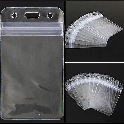 10pc Transparent Vertical Clear Vinyl Plastic Id Card Badge Holder With Zipper B