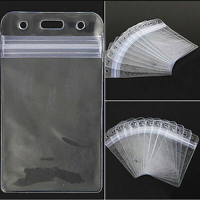 10 Pcs Vertical Vinyl Pvc Plastic Clear Id Card Badge Holder With Zipper
