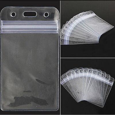 10x Transparent Vertical Clear Vinyl Plastic Id Card Badge Holder With Zipper D