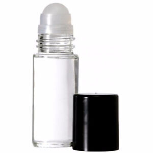 New-4 Pack - 1 OZ. CLEAR GLASS ROLL-ON VIALS WITH BLACK CAPS