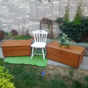 2 ANTIQUE TRUNKS or CHESTS + ANTIQUE CHAIRS