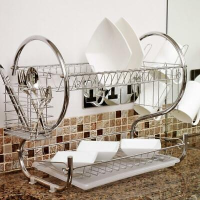 Kitchen Dish Cup Drying Rack Drainer Dryer Tray Cutlery Holder Organizer US