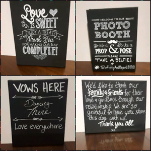 4 canvas chalkboard signs - customizable