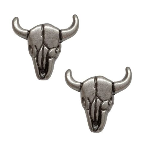 """New 1"""" Western Steer Skull Concho 2 Pack Antiqued With Rivets"""