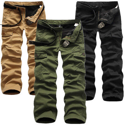 Cotton Lined Work Pants (Men Winter Cotton Fleece Lined Cargo Combat Work Pockets Long Pants Trousers)