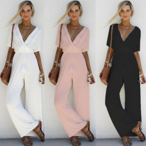 USA Women Sexy V Neck Sloid Short Sleeve Long Jumpsuit Beach Romper Party Casual Clothing, Shoes & Accessories