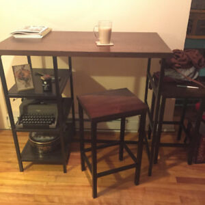 3-Shelf stool-height table with matching stools