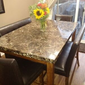 Faux Marble Table / Leather Seating for 8
