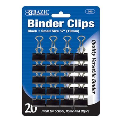 Bazic Small 34 19mm Black Binder Clip 20pack