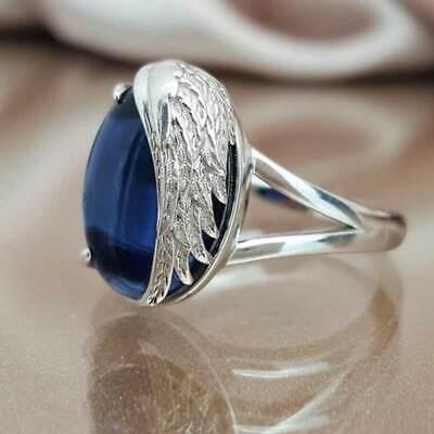 Pretty 925 Silver Rings Jewelry Blue Sapphire Women Wedding Ring Size 6-10