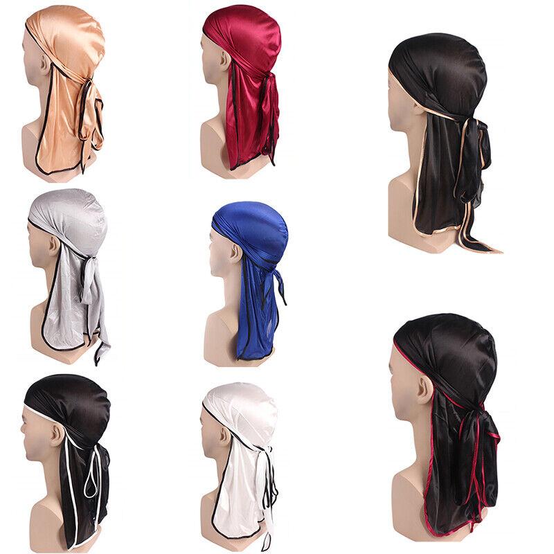 Satin breathable bandana hat silky durag do doo du rag long tail headwrap_fr