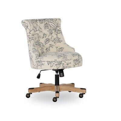 Linon Sinclair Wood Upholstered Office Chair In Floral Gray