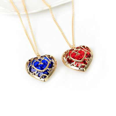 GOLD PLATED Zelda Heart Container Necklace Set cosplay Red Blue - TWO NECKLACES! Gold Ruby Heart Necklace