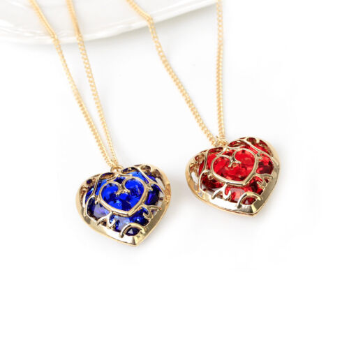 GOLD PLATED Zelda Heart Container Necklace Set cosplay Red Blue - TWO NECKLACES!