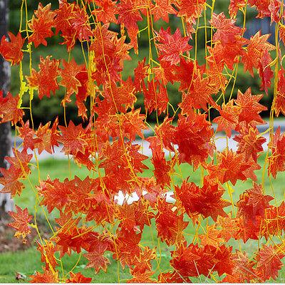 Autumn Leaves Garland Maple Leaf Vine Fake Foliage Wedding Home Decor RS