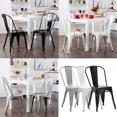 4 x Metal Dining Chairs Tolix Chair Stackable Industrial Vintage Bistro Kitchen