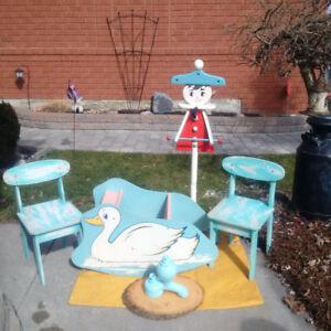 Vintage CHILDREN's 3 Pc Set+ SWAN +Highchair* see EACH PRICE ***