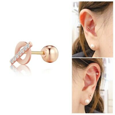 [STONE HENGE] 14K Rose Gold Cubic SINGLE PIERCING T1402 with case K-beauty