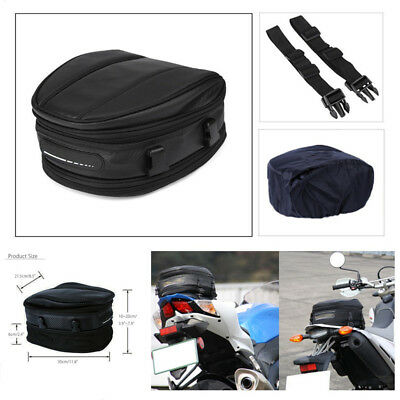 Motorcycle Rear Tail Seat Back Saddle Pack Waterproof Shoulder Carry Bag w/Cover