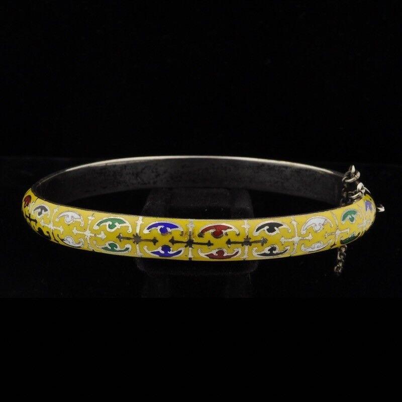 Antique Sterling Silver Enamel Bangle Bracelet