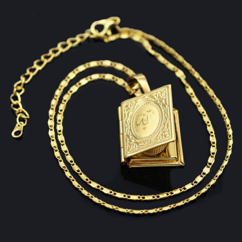 Photo Locket Pendant Necklace Chain Allah Islam Muslim Gold Plated for Men woman