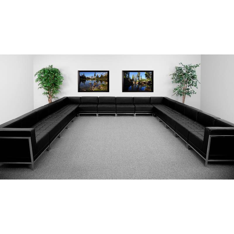 Hercules Imagination Series Black Leather U-shape Sectional Configuration,16 Pie