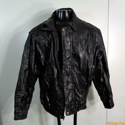 NAVARRE Italian Stone Design Patchwork LEATHER JACKET Mens XL Black Italian Line Design