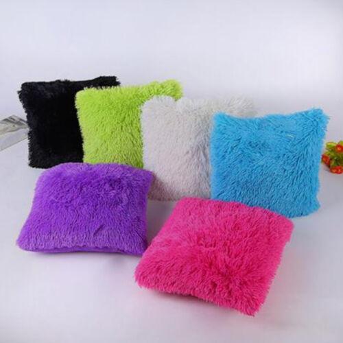 Fluffy Fur Plush Square Throw Waist Pillow Case Sofa Home De