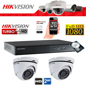 Hikvision Full HD 1080p CCTV Security Camera Kit - 2mp Cameras, Turbo DVR, Hard Drive, Cables